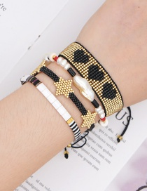 Fashion Suit Gold Rice Beads Hand-woven Love Natural Pearl Bracelet