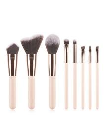 Fashion 8 White Wooden Handle Aluminum Tube Makeup Brush Set