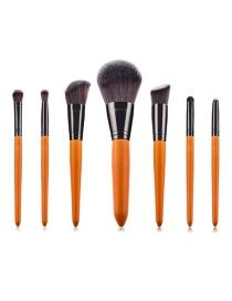 Fashion 7 Brown Wooden Handle Aluminum Tube Makeup Brush Set