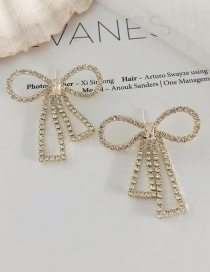 Fashion Golden Diamond-encrusted Butterfly And Gold Hollow Earrings