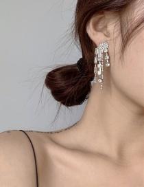 Fashion Silver Irregular Diamond Long Tassel Earrings