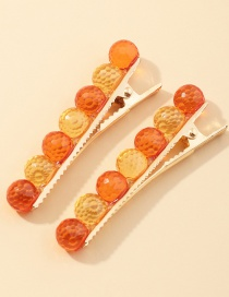Fashion Color Mixing Resin Round Alloy Hair Clip Set