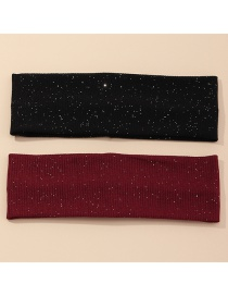 Fashion Black+red Knitted Fluorescent Solid Color Wide Brim Headband Suit