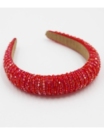 Fashion Red Crystal Rice Beads Beaded Sponge Broad Side Hair Band