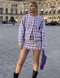 Fashion Purple Pearl Button Plaid Round Neck Top And Frayed Skirt Suit
