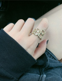 Fashion Gold Color Three-dimensional Letter Hollow Alloy Open Ring