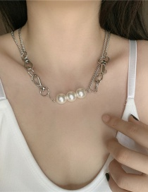 Fashion Silver Metal Ring Buckle Stitching Alloy Necklace