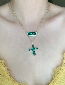 Fashion Cross Section Gemstone Square Cross Alloy Pendant Necklace