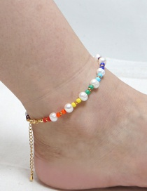 Fashion Color Mixing Natural Freshwater Pearl Rice Beads Contrasting Color Anklet