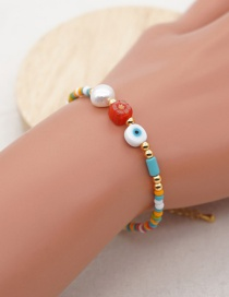 Fashion Color Mixing Rice Beads Woven Eyes Natural Pearl Bracelet