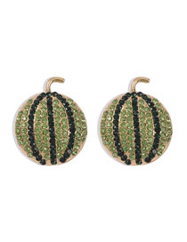 Fashion Green Watermelon Alloy Earrings With Diamonds