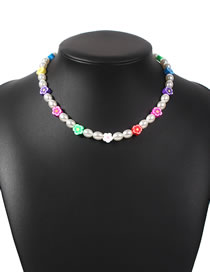 Fashion Color Resin Flower Pearl Beaded Necklace