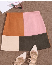 Fashion Brown Misplaced Patchwork Patch Hip Skirt