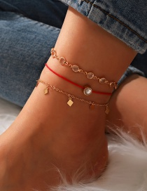 Fashion Golden Diamond Hollow Rhinestone Cat Eye Beaded Multilayer Anklet