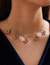 Fashion Color Mixing Dripping Butterfly Pendant Alloy Necklace