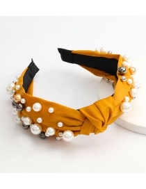 Fashion Yellow Fabric Inlaid Pearls Wide-brim Knotted Headband