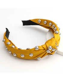 Fashion Yellow Large Hemispherical Alloy Knotted Headband In Cotton And Linen Fabric