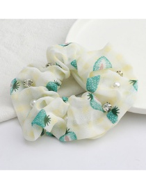 Fashion Yellow Fruit Strawberry Print Cotton And Linen Fabric Diamond-studded Pearl Large Intestine Ring Hair Rope