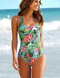 Fashion Blue Printed Tether Halterneck One-piece Swimsuit