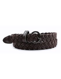 Fashion Brown Woven Needle Buckle Hemp Rope Belt