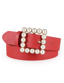 Fashion Red Japanese Word Inlaid Pearl Square Buckle Belt