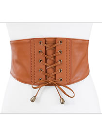 Fashion Camel Soft Leather Tassels Tied With Wide Belt