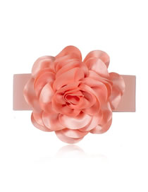Fashion Pink Oversized Flower Elastic Wide Belt