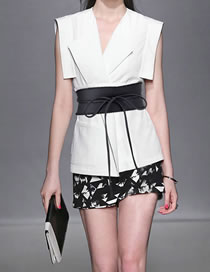 Fashion Black Wide Belt With Bow Tie