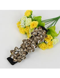 Fashion Tawny Rhinestones Hand-stitched Rhinestone Flower Thin Belt
