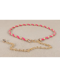 Fashion Rose Red Round Metal Chain Alloy Waist Chain