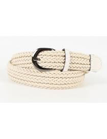 Fashion Creamy-white Pin Buckle Twine Braided Belt