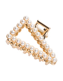 Fashion Pearl Models Pearl And Diamond Geometric Alloy Hollow Grip