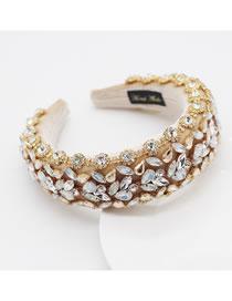 Fashion Yellow Sponge Diamond Broad-brimmed Geometric Headband