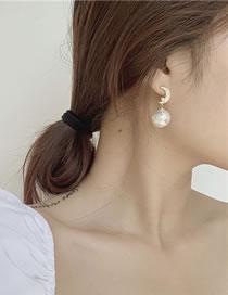 Fashion White Diamond Pearl Star Moon Alloy Earrings