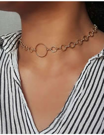Fashion Golden Metal Geometric Ring Hollow Chain Necklace