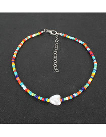 Fashion Color Peach Heart Pearl Beaded Rice Bead Necklace