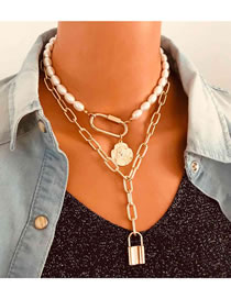Fashion Golden Pearl Lock Alloy Geometric Multilayer Necklace