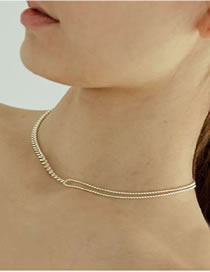 Fashion Golden Alloy Chain Stitching Necklace