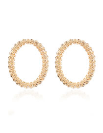 Fashion Golden Alloy Hollow Geometric Round Earrings