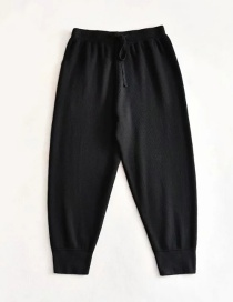 Fashion Black Small-angle Loose-fitting Trousers Elastic Waist Knit Pants