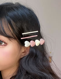 Fashion Pink Amber Texture Love Hit Color Hairpin Set