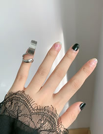 Fashion Silver Alloy Geometric Hollow Nail Cover
