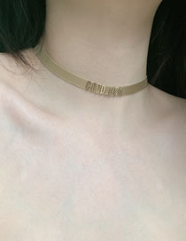 Fashion Golden Letter Alloy Wide Side Chain Necklace