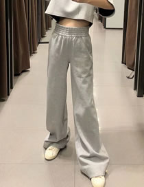 Fashion Gray Flannel Elastic Waist Solid Color Wide-leg Pants