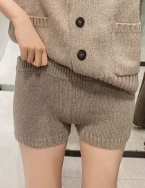 Fashion Khaki Paneled Elastic Waist Knitted Shorts