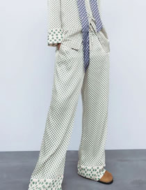 Fashion Checkered Printed Stitching Contrast Elastic Waist Wide-leg Pants