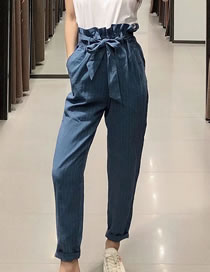 Fashion Blue Stripes Paper Bag Style Belted Striped Suit Pants