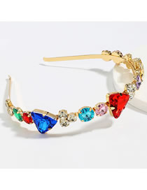Fashion Color Triangle Alloy Headband With Glass Diamonds