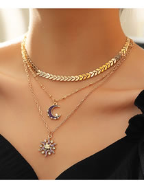 Fashion Golden Leaf Sun Moon Alloy Multilayer Necklace