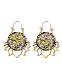 Fashion Gold Hollow Lotus Sunflower Carved Earrings